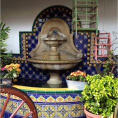 Talavera tile Fountain in Old Town San Diego Patio Ideas, Garden Ideas, Spanish Patio, Outdoor Spaces, Outdoor Living, Old Town San Diego, Plunge Pool, Style Tile, Southern California