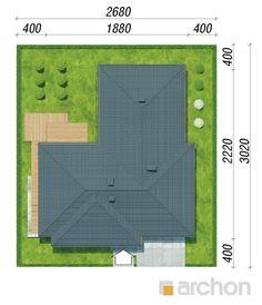 gotowy projekt Dom w amarantusach 6 sytuacja Plot Ideas, Townhouse, Rooftops, Roof Tiles, House, Terraced House