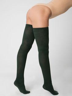 """Cotton Solid Thigh-High Socks in """"forest"""""""