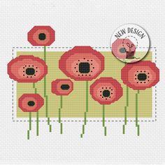 Cross Stitch Pillow, Cross Stitch Bird, Cross Stitch Borders, Modern Cross Stitch, Cross Stitch Flowers, Cross Stitch Embroidery, Cross Stitch Patterns, Poppy Pattern, Rainy Day Crafts