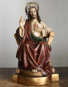 Etsy のChrist the King Sacred Heart of Jesus Statue Sitting Chair Devotional Figurine Spain Religious Vintage /34(ショップ名:GliciniaANTIQUE)
