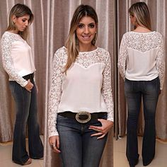 @boutiquedonacota - Calça flare jeans#Blusa de viscose com detalhe em renda#cinto de couro legítimo com fivela de metal e pedra#Dona Cota - igbox instagram web viwer