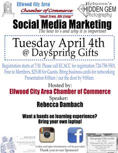 Social Media Marketing Event: The Ellwood City Chamber of Commerce will be hosting their Social Media Marketing event tomorrow, Tuesday April 4, at Dayspring Gifts. Rebecca Dambach will be guest speaking at the event. Official flyer below. The post Social Media Marketing Event appeared first on Mission 4 Media. http://www.mission4media.com/social-media-marketing-event?utm_source=rss&utm_medium=Social+Media+News&utm_campaign=RSS