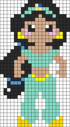 Jasmine Perler Bead Pattern | Bead Sprites | Characters Fuse Bead Patterns
