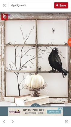Love This Halloween Display Especially The Use Of A Vintage Window FrameCraftberry Bush Playing With Shadowsan Easy Painting Techinique
