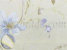 Ciça Braga - Papel de parede Papel de Parede Vinílico Frankincense (Chinês) - Floral Delicado (Tons de Azul/ Bege/ Reflexo Dourado/ Leve Relevo e Brilho) - COLA GRÁTIS