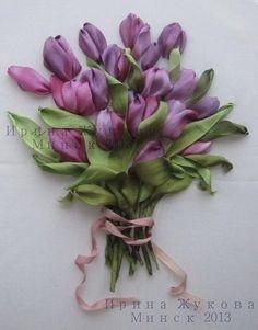 Materiales gráficos Gaby: Tulipanes bordado en cinta