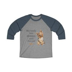 A new t-shirt for Yorkshire Terrier dad and parent with black print text and design, from our collection Almost normal.