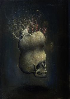 'Bifidia', 2012, oil on wood ~ by Agostino Arrivabene (b1967, Italy).