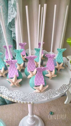 Love these cake pops at a mermaid under the sea birthday party! See more party ideas at CatchMyParty.com!