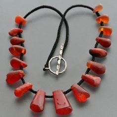 Carnelian Pendant Bead Necklace