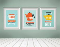 Cathrineholm print, kitchen art, kitchen poster, mid century modern, set of 3, cathrineholm poster, retro kitchen decor, tea print, coffee
