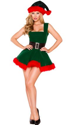 Head Elf Hottie Costume, Sexy Elf Costume, Sexy Christmas Costume