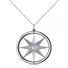 Allurez Diamond Nautical Compass Pendant Necklace 14k White Gold... ($2,800) ❤ liked on Polyvore featuring jewelry, star jewelry, diamond necklace pendant, pendants & necklaces, diamond jewelry and round diamond pendant necklace