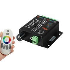 DC12-24V 18A RGB LED Strip Lights Music Controller Sound/Audio Control With RF Remote