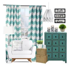"""Quiet teal sitting area"" by jeana-deming-barnhart on Polyvore featuring interior, interiors, interior design, home, home decor, interior decorating, Lala + Bash, New View, Improvements and Kikkerland"