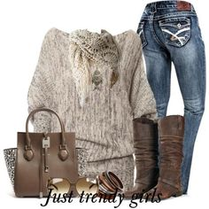 cozy sweater with jeans , Casual brownish outfits for winter  http://www.justtrendygirls.com/casual-brownish-outfits-for-winter/