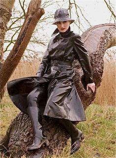 Raincoats For Women Shops Key: 7961769227 Black Raincoat, Pvc Raincoat, Hooded Raincoat, Horse Riding Boots, Black Mac, Hunter Wellies, Equestrian Chic, Rubber Raincoats, Leather High Heel Boots