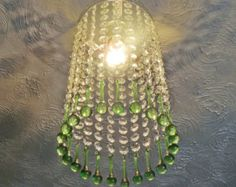 Bespoke Chrome Chandelier Lampshade Waterfall Light Glass Orb Emerald Green Droplets Chic Drops Crystals Vintage Antique Style Pendant 0.3m