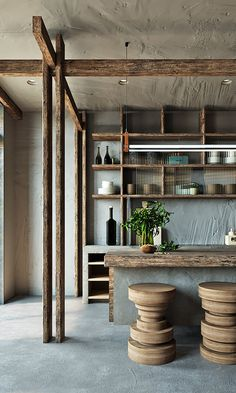 Asian style interiors with green and teal decor. Featuring industrial contemporary decor, a sophisticated interior design, and a traditional Asian inspired home Cafe Interior, Interior And Exterior, Kitchen Interior, Kitchen Design, Interior Decorating, Interior Design, Rustic Interiors, Inspired Homes, Contemporary Decor