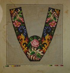 A Beautiful Floral Slipper Pattern Produced By Hertz & Wegener In Berlin
