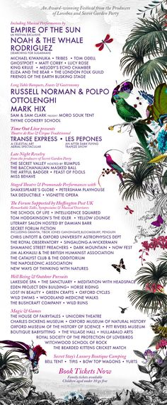 Wilderness 2013 Line up Lineup, Wilderness, Festivals, Into The Wild