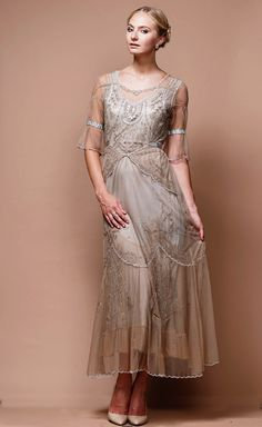 Edwardian Vintage Inspired Wedding Dress in SandSilver by Nataya $327.00 AT vintagedancer.com