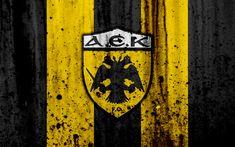 Download wallpapers AEK Athens FC, 4k, Greece Super League, grunge, stone texture, AEK logo, emblem, Greek football club, Athens, Greece Grunge, Logo Emblem, Stone Texture, Football, Logos, Street Art, Wallpaper, Sports, Soccer