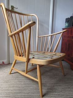 Blonde Ercol Evergreen Easy Chair Armchair New Pirelli Webbing FRAME ONLY Ercol Furniture, Wishbone Chair, Evergreen, Armchair, Frame, Easy, Home Decor, Sofa Chair, Picture Frame