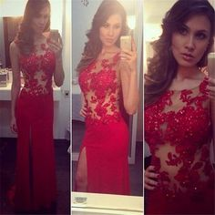 New Design Long Red Fitted Prom Dress Sexy High Slit Women Pageant Gowns Lace Appliques Bodice Cheap Dresses