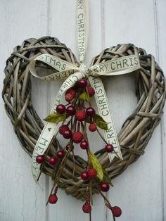 Grapevine Heart Christmas Wreath  ~