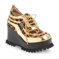 Women's Shellys London Richie Platform Wedge ($159) ❤ liked on Polyvore featuring shoes, leopard fabric, round cap, shellys, shellys shoes, lug-soled shoes and round toe shoes