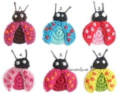 Crochet - Ladybug 2 of 12 Free choice of color - a designer piece of garndesign on DaWanda/аппликации крючком / Appliques Au Crochet, Crochet Motifs, Crochet Art, Love Crochet, Crochet Crafts, Crochet Dolls, Crochet Flowers, Crochet Stitches, Crochet Projects