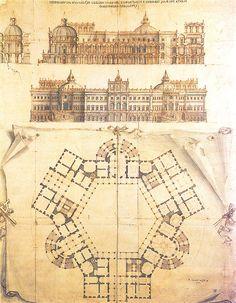 Filippo Juvarra - Pianta, prospetto e sezioni per un Palazzo di Campagna per tre personaggi