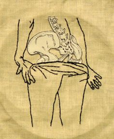 States of Undress No. 7 embroidery & hand painted leather applique on linen
