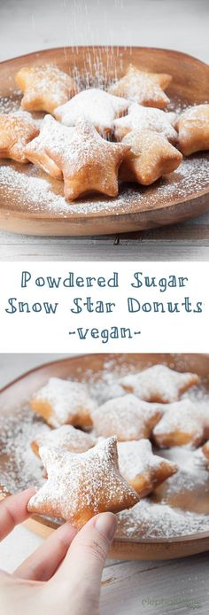 Powdered Sugar Snow Star Donuts (vegan)   http://ElephantasticVegan.com