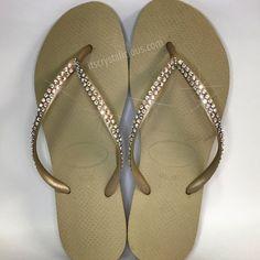 b5add4263fa3 Gold Havaianas Covered In SWAROVSKI Crystal AB Bling Flip Flops - 2 Rows