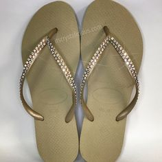 9c9cd3ed27f0 Gold Havaianas Covered In SWAROVSKI Crystal AB Bling Flip Flops - 2 Rows