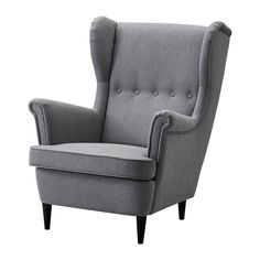 STRANDMON Wing chair, Nordvalla dark gray Nordvalla dark gray