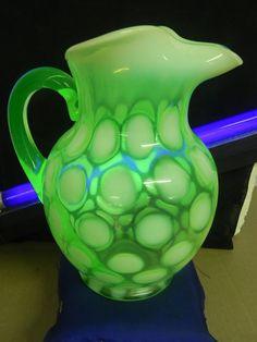 Fenton Art Glass Green-Opalescent Coin Dot Pitcher-Jug,Ice Lip,Has Vaseline Glow