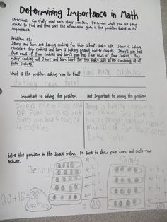Could be a useful lesson even for ninth graders! Determining Importance in Math {FREEBIE}: Helpful for solving tricky word problems Math Resources, Math Activities, Fifth Grade Math, Fourth Grade, Third Grade, Math Classroom, Classroom Ideas, Future Classroom, Math Charts