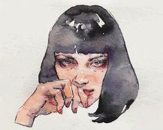 Risultati immagini per mia wallace Mia Wallace, Pulp Fiction Kunst, Pop Art Vintage, Joker Poster, Hip Hop, Bo Bartlett, Watercolor Techniques, Doodle Art, Memes