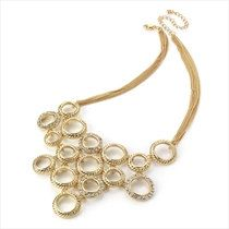 Gold crystal circle chain necklace. Statement by LoveYourselfLots, £9.75