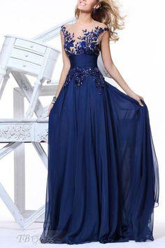 Graceful A-Line Appliques with Belt Floor-Length Evening Dress
