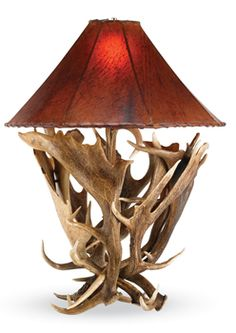 antler lamp with leather shade