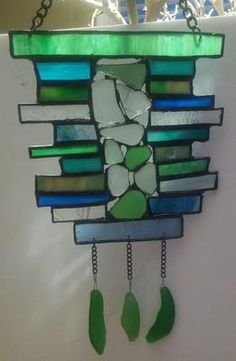 Sea Glass/Stained Glass Suncatcher: ~ sea glass project submitted by Loretta, Lake Forest CA  Combining sea glass and stained glass opens many more creative ideas to create home decor.