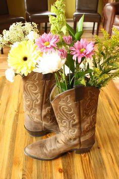 Cowboy boot vases, cute!