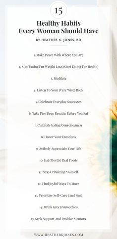 15 healthy habits that every woman should have. Even implementing just one of th… 15 healthy habits that every woman should have. Even implementing just one of these 15 habits will make a HUGE difference in your life, seriously. Good Habits, Healthy Habits, Healthy Food, Affirmations, Stress, Zumba Fitness, Fitness Routines, Best Self, Self Development