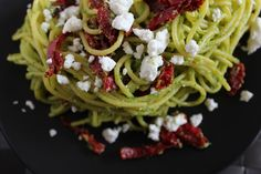 Gluten Free Vegetarian Kale Pesto Spaghetti with Sun Dried Tomatoes and Goat Cheese