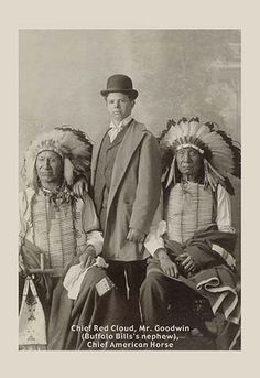 American Horse and Red Cloud, Dakota Chiefs, and Johnny Baker, adopted son of Buffalo Bill and performer in his Wild West Shows. Native American Beauty, Native American Photos, Native American Tribes, American Indian Art, Native American History, American Indians, Native Americans, Early American, Sioux